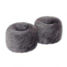Steel Grey Faux Fur Wristwarmers