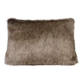Truffle Faux Fur Rectangular Cushion