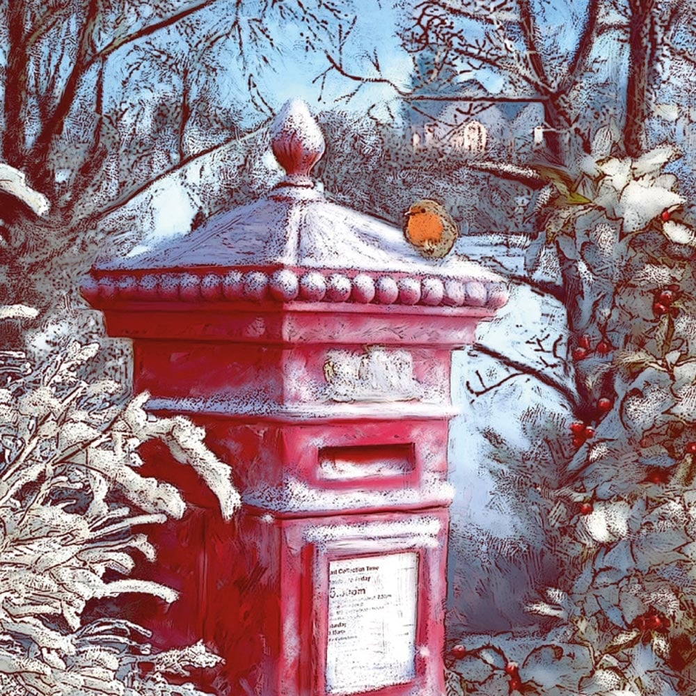 Museums and galleries frosted post box pack of 8 christmas cards m4hsunfo