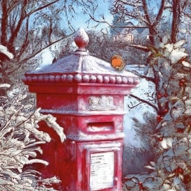Museums and Galleries Frosted Post Box Pack of 8 Christmas Cards