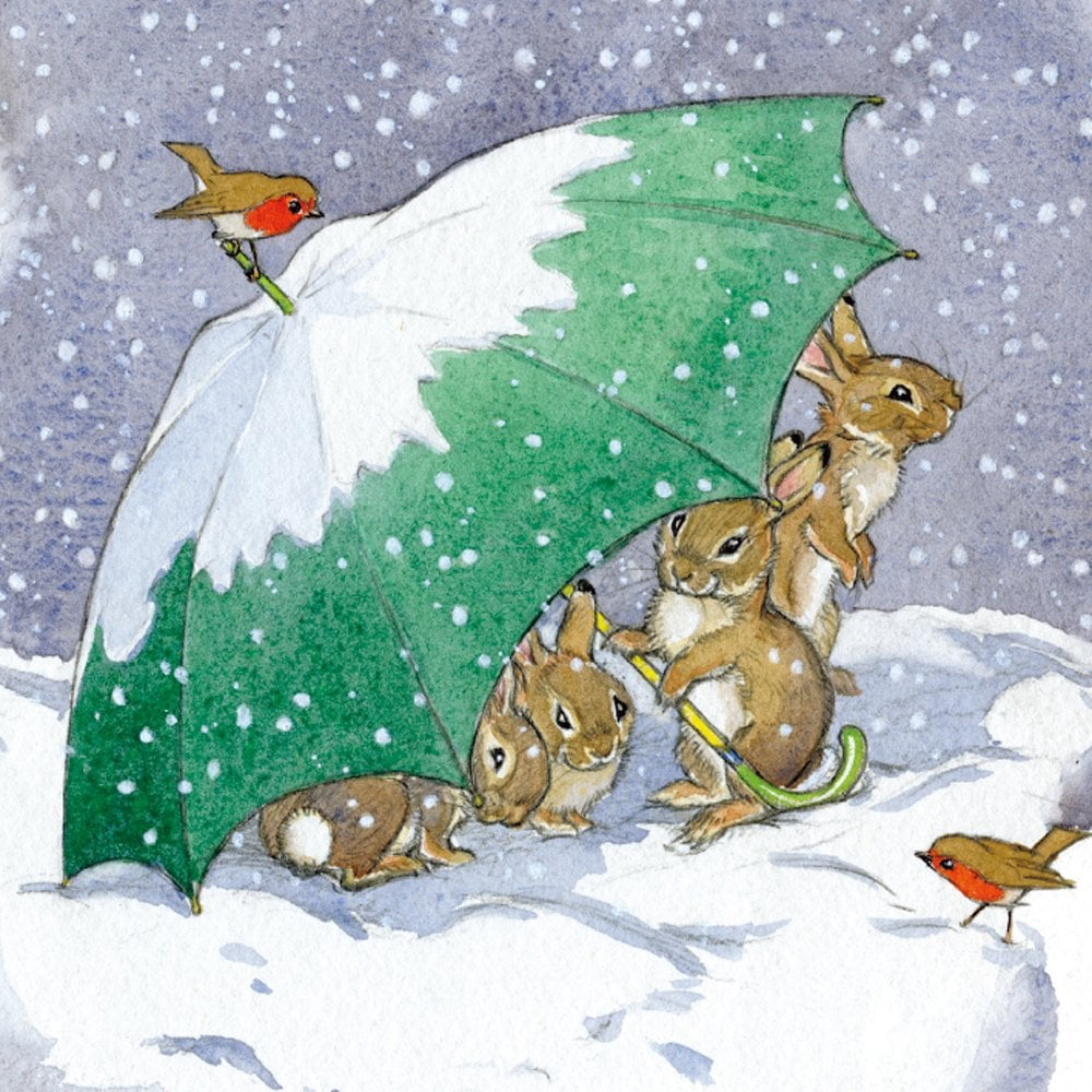 Cute Christmas Cards.Rabbits And Umbrella Pack Of 8 Christmas Cards