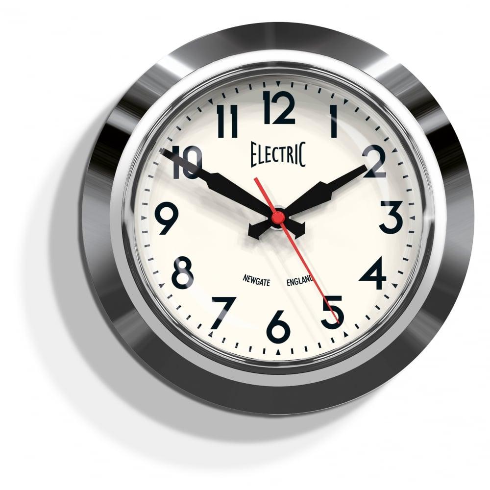 Newgate 50s Electric Wall Clock Small Chrome
