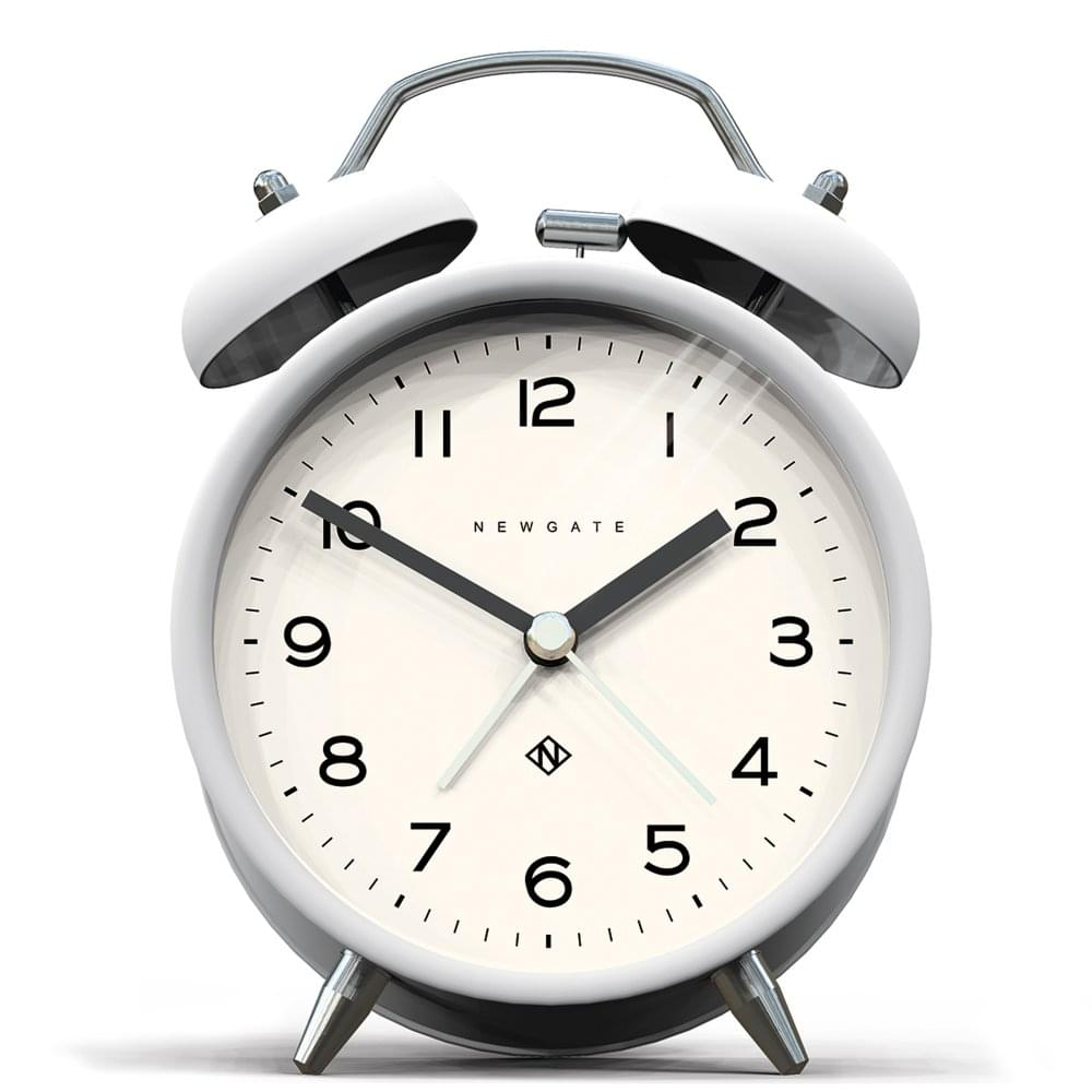 Newgate Echo Charlie Bell Alarm Clock Pebble White