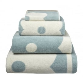 Abacus Flower Jacquard Towels - Duck Egg