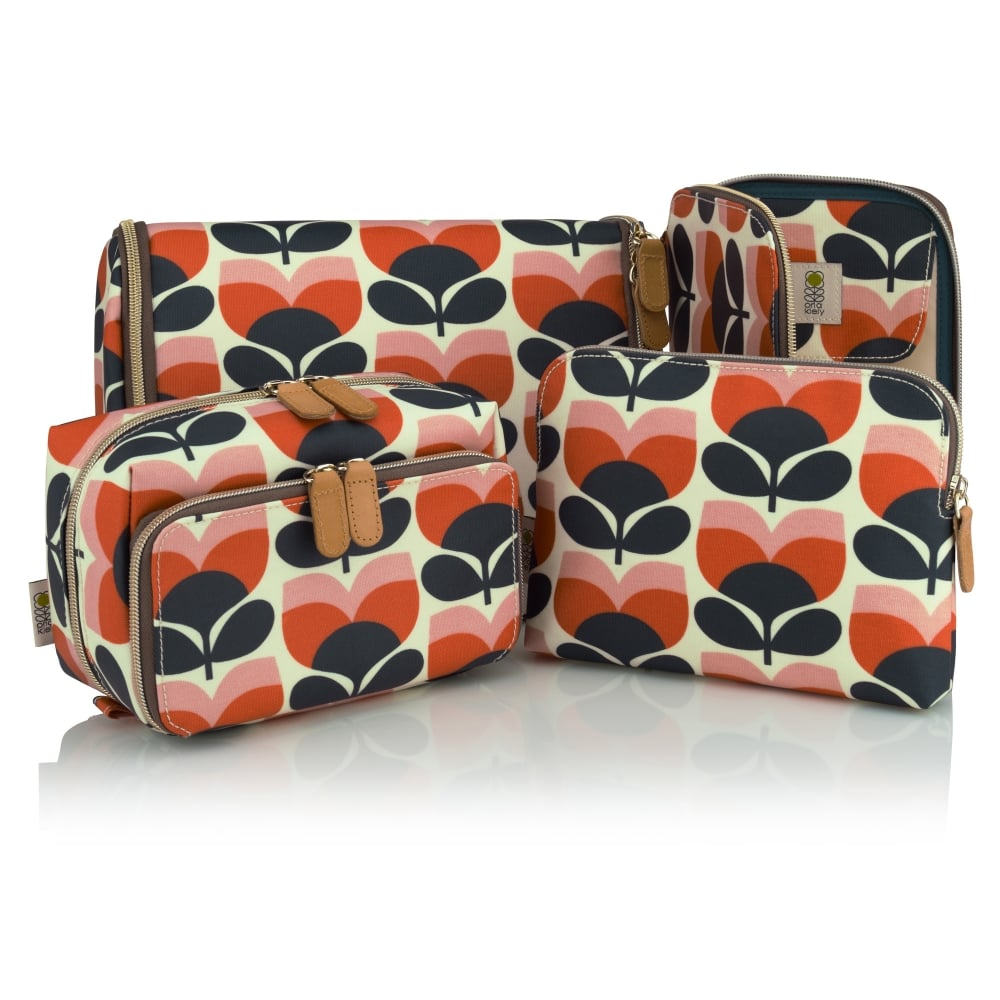 Orla Kiely Trifold Ious Cosmetic Travel Bag Hanging 3rd Photo Shows Some Slight Color Bleeding On 2 Of The Flowers