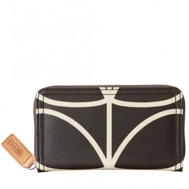 Orla Kiely Giant Linear Stem Big Zip Wallet Liquorice