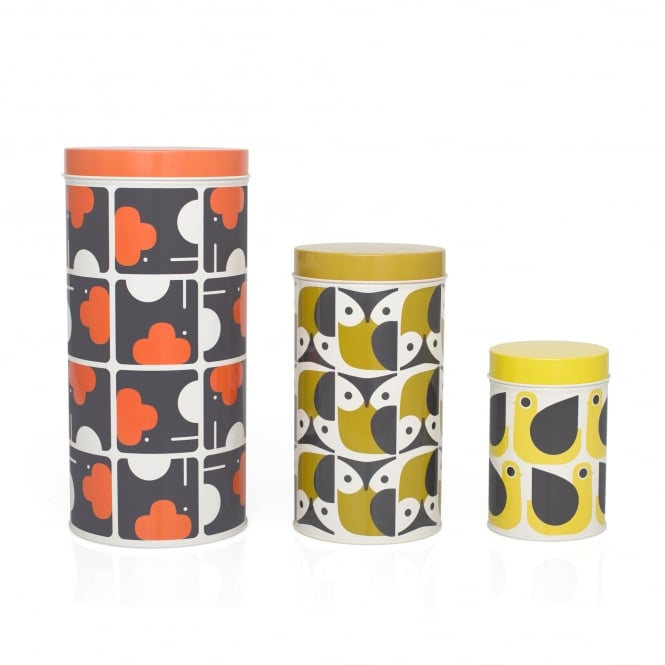 Orla Kiely Owl Elephant Hen Storage Canisters - Set of 3