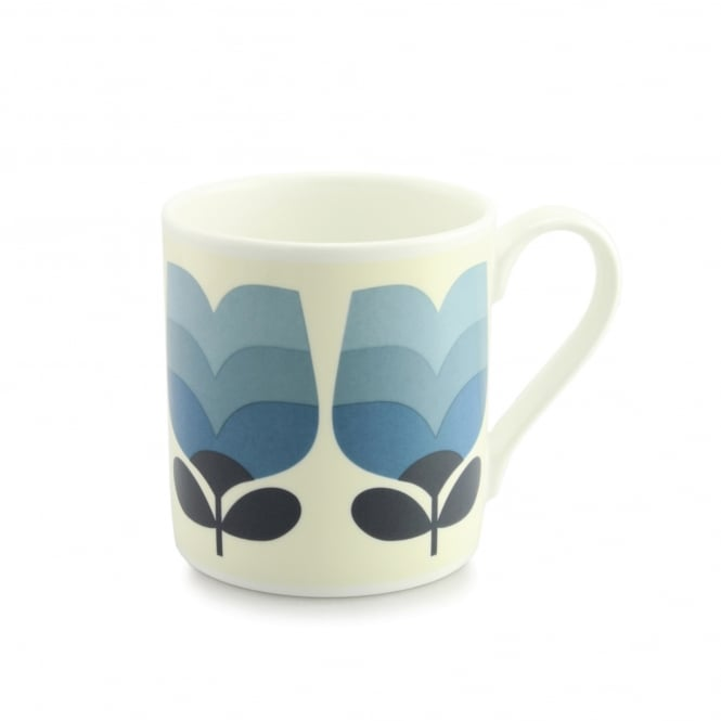 Orla Kiely Quite Big Periwinkle Tonal Striped Tulip Stem Mug