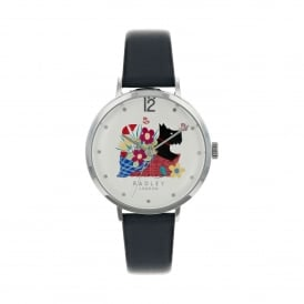 Basket Bouquet Navy Leather Strap Watch