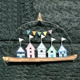 Beach Huts Driftwood Decoration