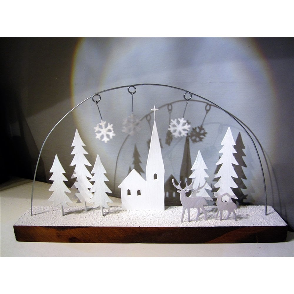 225 & Shoeless Joe White Christmas Chapel Scene Driftwood Decoration