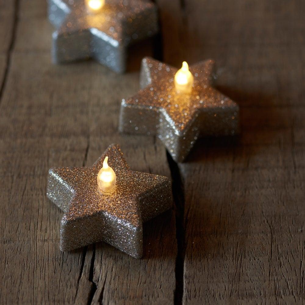 Set Of Six Gold Star Glitter Led Tealights