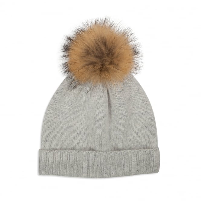 Somerville Pale Grey Cashmere Plain Knit Hat