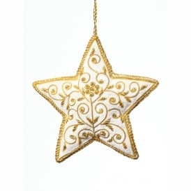 Gold Floral Velvet Star Decoration