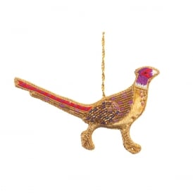 Iridescent Beaded Pheasant Decoration