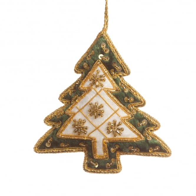 St Nicolas Ivory & Forest Green Tree Decoration