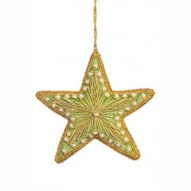 Sage Green Velvet Star Decoration