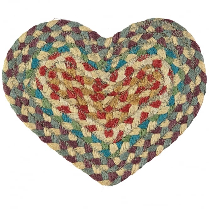The Braided Rug Company Carnival Heart Jute Braided Coaster