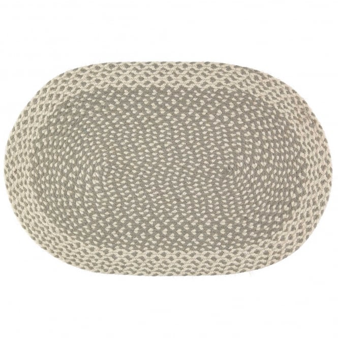 The Braided Rug Company Large Grey Oval Rug