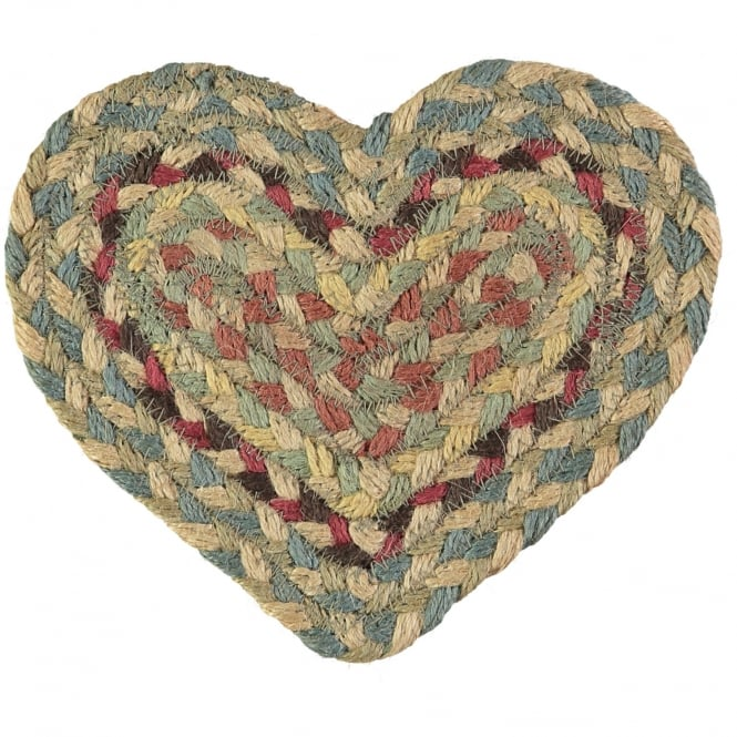 The Braided Rug Company Pampas Heart Jute Braided Coaster