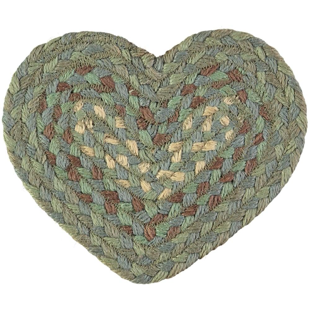 Seaspray Heart Jute Braided Coaster The Rug Company