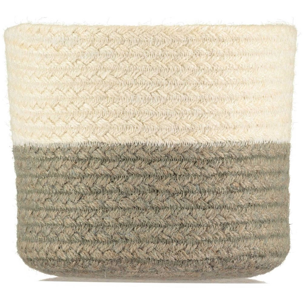 The Braided Rug Company Two Tone Grey And White Utility Basket