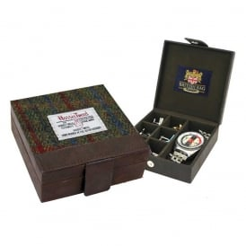 Harris Tweed Green Cufflink Box