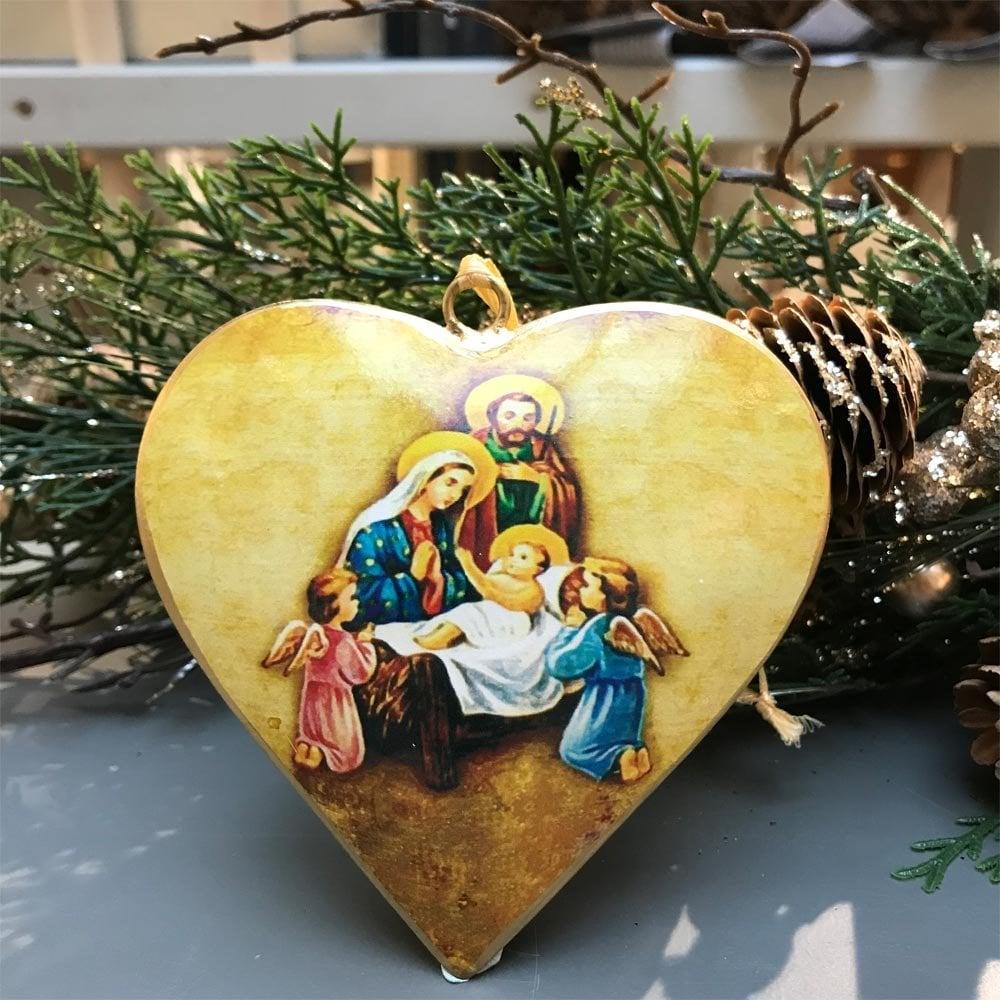 Christmas Heart Decoration.Tinker Tailor Enamel Coated Metal Nativity Heart Decoration