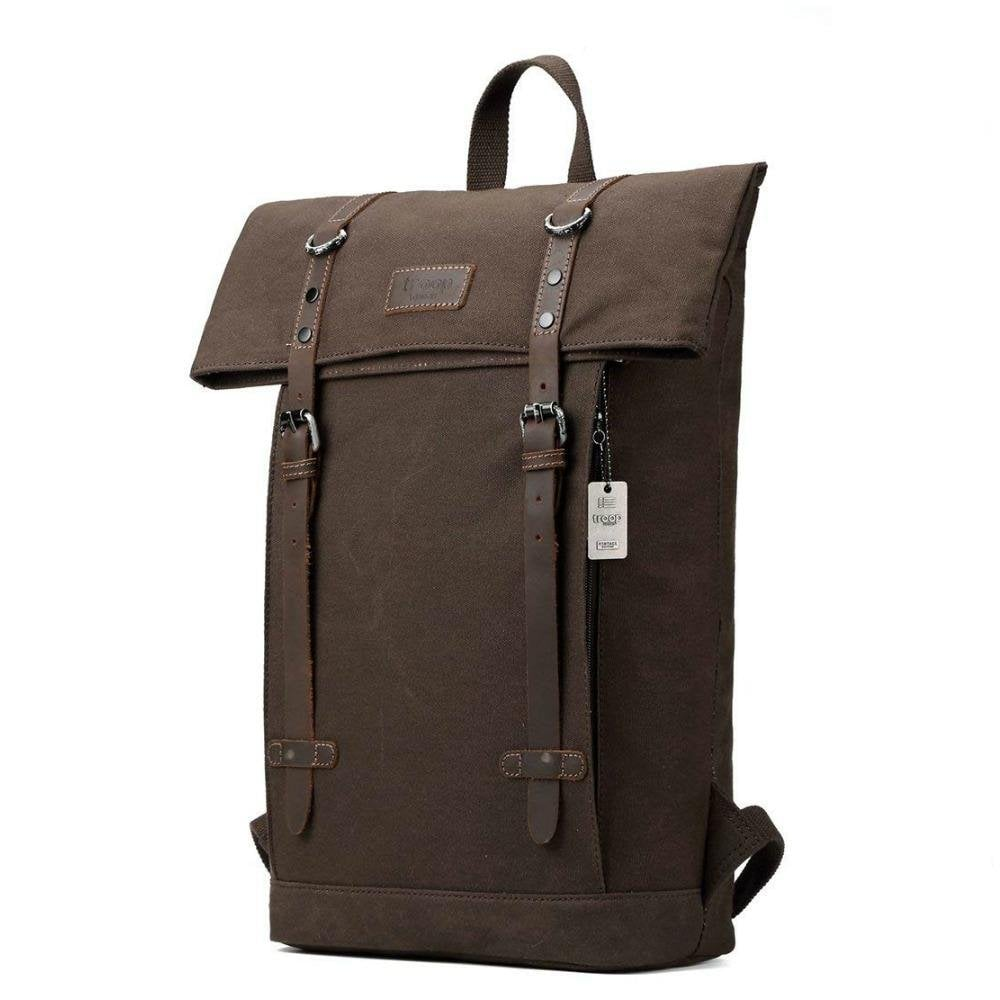 ad58799b45 Troop London Heritage Canvas Leather Laptop Backpack