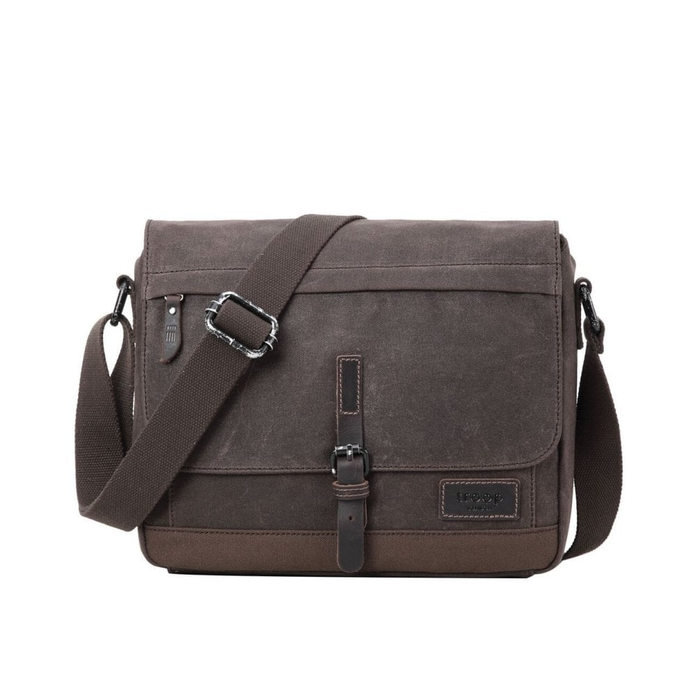 38822b11d0e4 Troop London Heritage Canvas Leather Messenger Bag Dark Brown