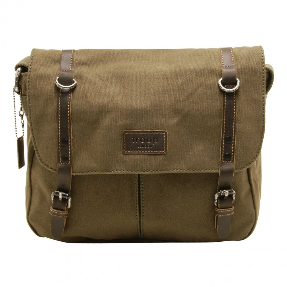 d64e0c25d Troop London Heritage Canvas Leather Messenger Bag