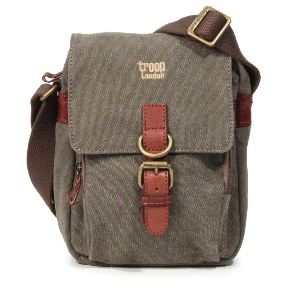 Troop London Small Classic Brown Canvas Across Body Bag 9f1c8370744ff