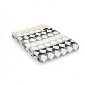 Diamond Merino Wool Throw Monochrome