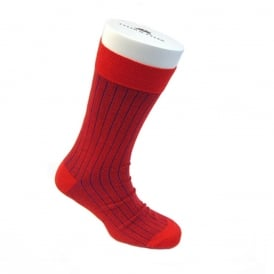 Pinstripe Ankle Socks - Blue/Red