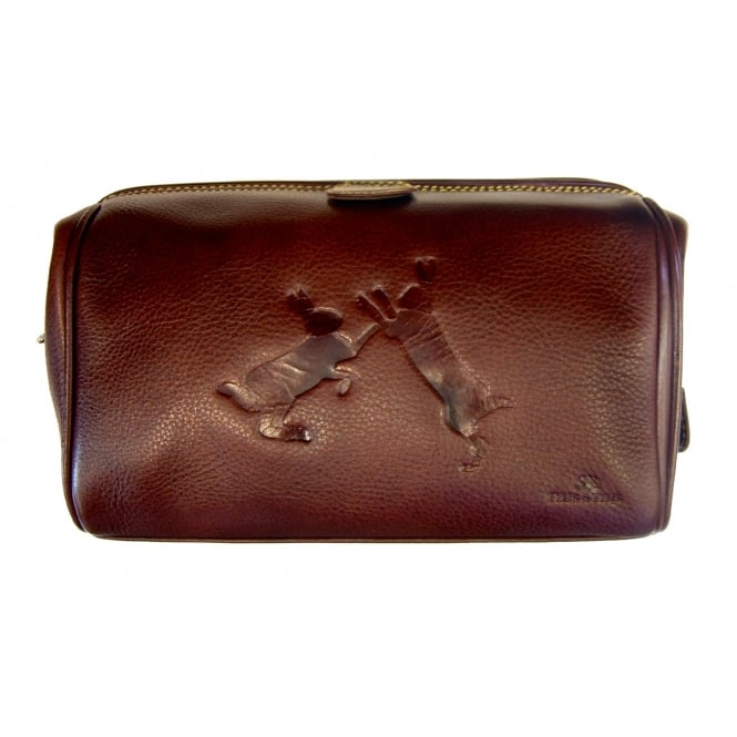 Tyler & Tyler Sparring Hares Leather Washbag