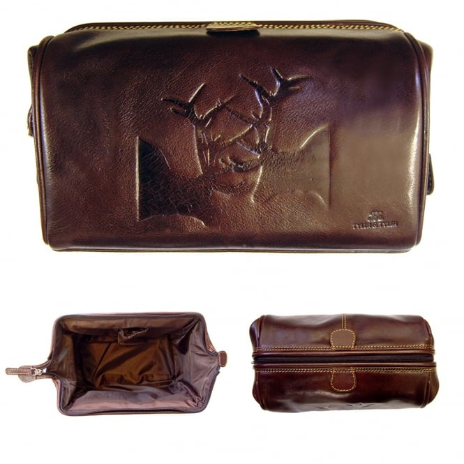 Tyler & Tyler Stag Leather Washbag