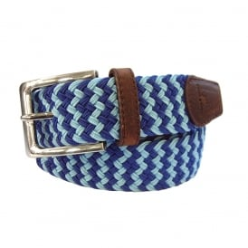 Zig Zag Woven Belt - Blue & Light Blue