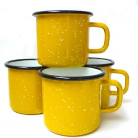 Yellow Speckle Enamel Mug