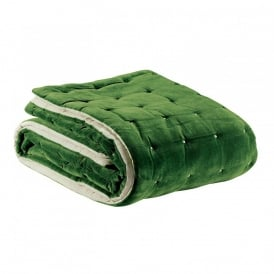 Elise Quilted Square Throw - Fir Green