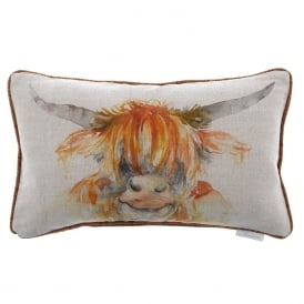 Highland Coo Linen Cushion