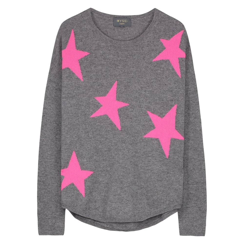 c847de768a Wyse London Maddy Large Star Slouchy Cashmere Jumper - Charcoal Pink