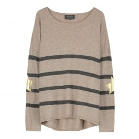 Marielle Stripe Slouchy Cashmere Jumper - Taupe & Grey